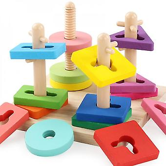 Lanbena Children's Wooden Building Blocks Rotary Sleeve Column Geometric Shape Matching Toys Kindergarten Early Education Tools
