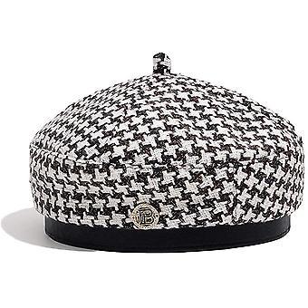 French Beret For Women Vintage Houndstooth Pattern Berets Summer Elegant Beanie Hat Painter Cap