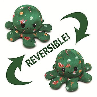 New Christmas Halloween Plush Toy Double-sided Expression Double-sided Flip Octopus 30cm