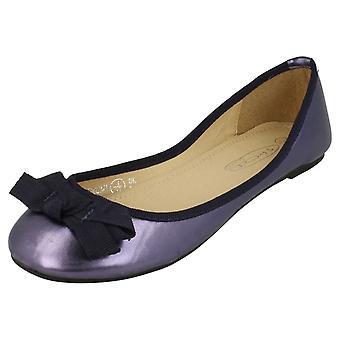 Ladies Spot On Flat Ballerina Ribbon Bow Vamp Shoe