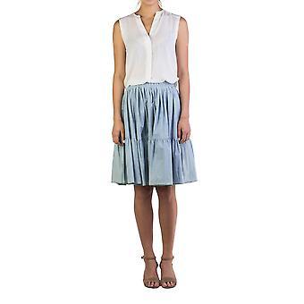 Miu Miu Women's Cotton Ribbed Skirt Blue
