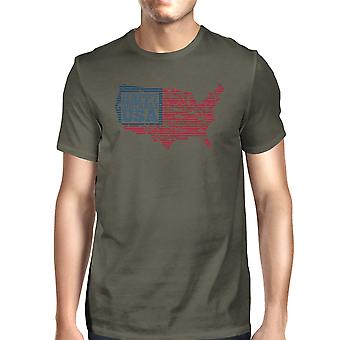 Happy Birthday USA Flag Shirt Mens Dark Grey Graphic T-Shirt Cotton