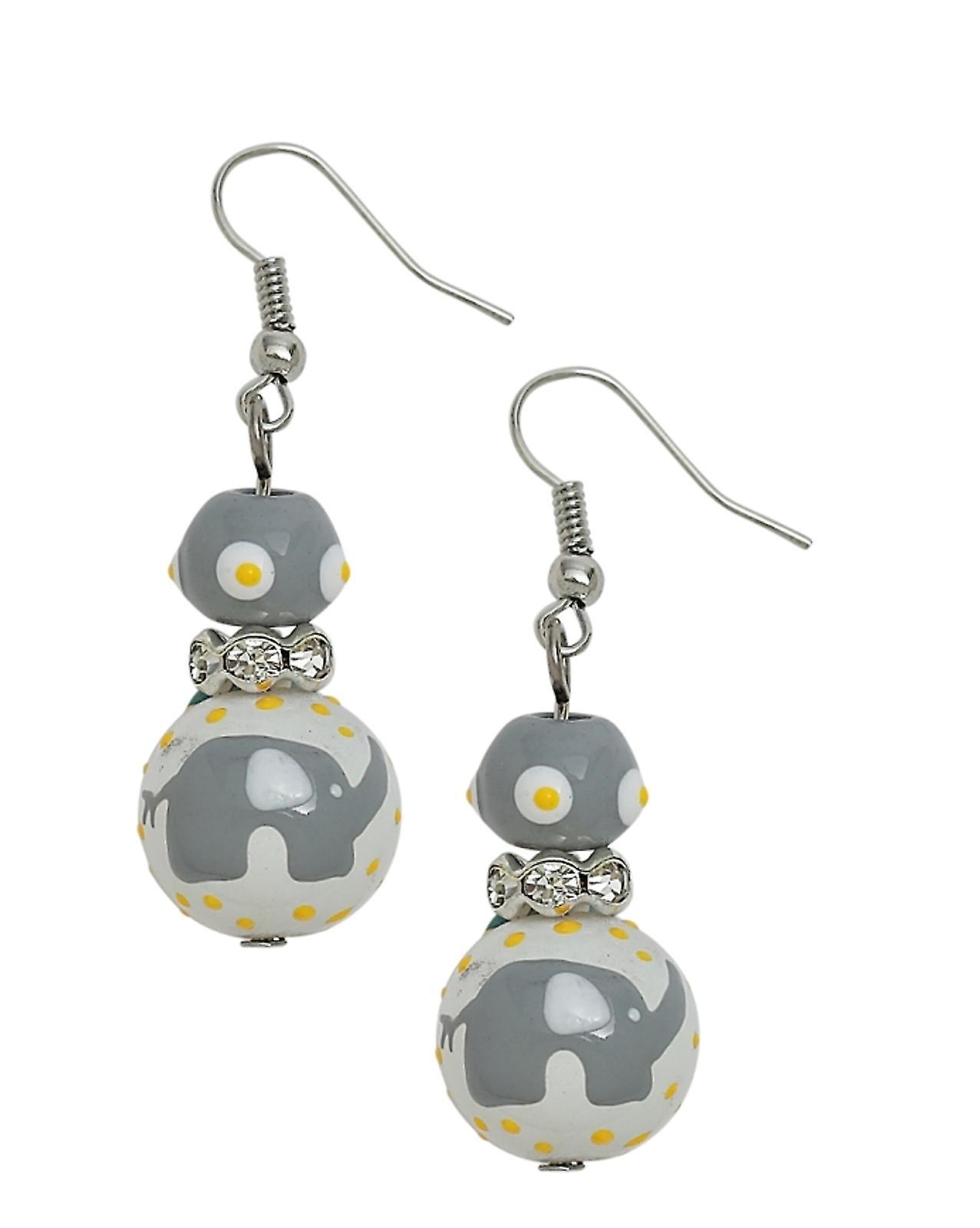 Gray Elephant Rhinestone Glass Beaded Kate and Macy Pierced Earrings Clementine