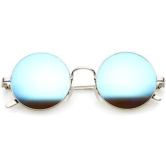 Lunettes de soleil rond rétro en prime avec ossature métallique bras minces couleur miroir objectif 52mm