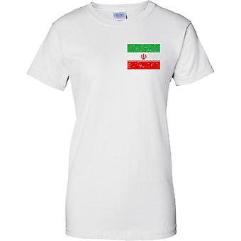 Iran gequält Grunge Effekt Flaggendesign - Damen Brust Design T-Shirt