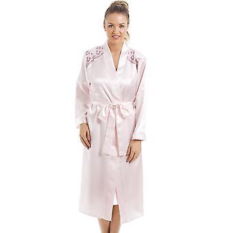 Camille Luxus rosa Satin Hemd und Wrap Set