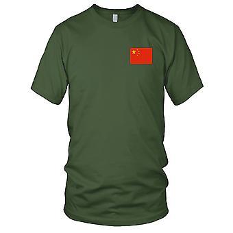 Kina kinesiske nasjonale flagg - brodert Logo - 100% bomull t-skjorte Mens T-skjorte
