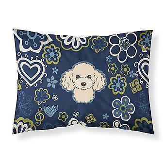 Taie d'oreiller Standard de fleurs bleues caniche Buff tissu