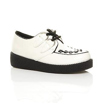 Ajvani dame flad platform kile snøre goth punk creepers sko støvler