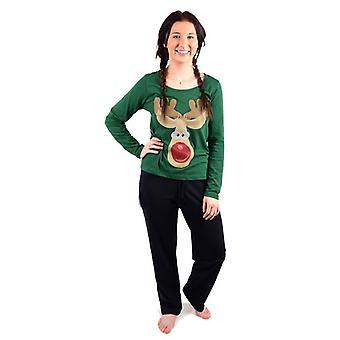 Ladies Christmas Xmas Pyjama Set Festive Night Sleep Wear PJ Gift Winter Warm