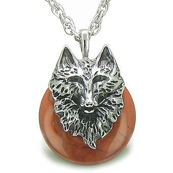Amulet Wolf hoofd moed bescherming bevoegdheden gelukkige Donut rode Jasper hanger ketting