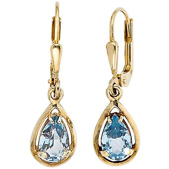 hanging earrings boutons 333 Gold Yellow Gold 2 Spinels blue earrings