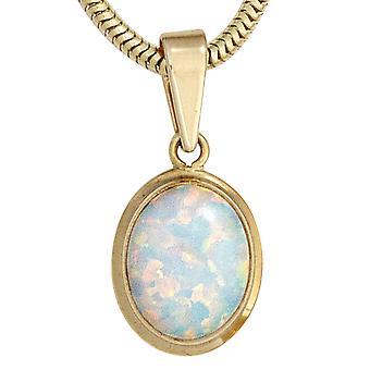 Opalanhänger Kettenanhänger Opal Anhänger 333 Gold Gelbgold 1 Opal