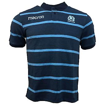 2018-2019 Scotland Macron Rugby Stripe Poly Cotton Polo Shirt (Blue)