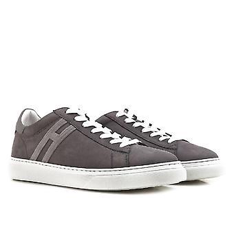 Hogan men's low top sneakers shoes in grey suede
