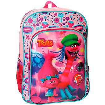 Trolls reppu laukku 40x30x16cm vaaleanpunainen