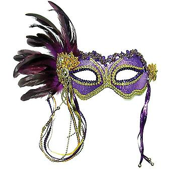 Purple Metallic + Side Feather Mask.