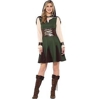 Medieval Hunter Robin Hood traje tamanho L mulheres Carnival Ranger 47645
