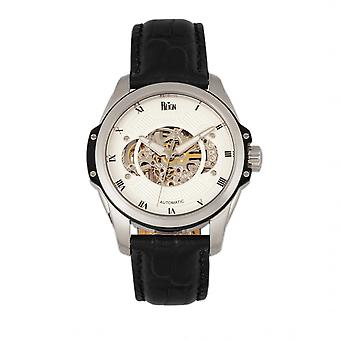 Reinado Henley automática semi couro-banda relógio esqueleto - preto/branco