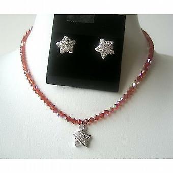 Fine Swarovski Crystals Indian Red AB Cute Star Pendants Necklace Set