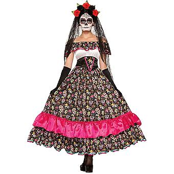 Spaans meisje dag van de doden volwassen kostuum