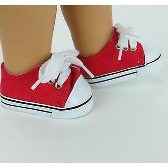 "18 ""docka kläder låg Top Sneakers, röd"