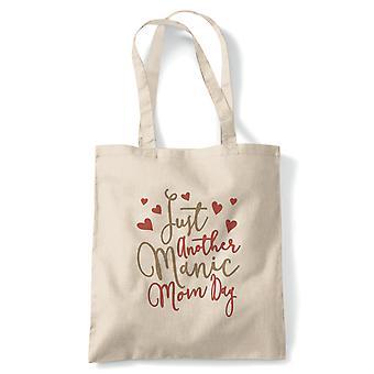 Bara en annan maniska mamma dag rolig Tote | Återanvändbar Shopping bomullscanvas länge hanteras naturliga Shopper miljövänliga mode | Gym boka väska närvarande födelsedagspresent honom hennes | Flera färger