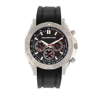 MORPHIC M75 serie Tachymeter Strap Watch w/Day/Date-zilver/zwart