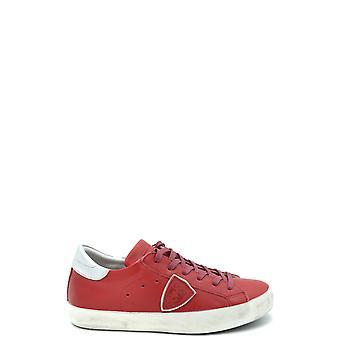 Philippe Modelo Ezbc019041 Mujer's Zapatillas de Cuero Rojo