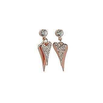 Miss Dee Rose Gold Plated Double Heart Crystal Drop Earrings