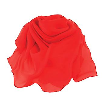 Eternal Collection Plain Red Large Square Pure Silk Chiffon Scarf
