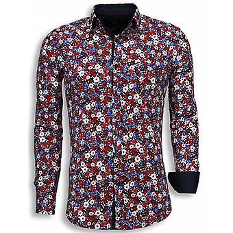E Shirts - Slim Fit - Bouquet Pattern - Blue