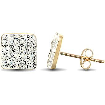 Jewelco London Ladies 9ct Yellow Gold White Round Crystal Disco Square Stud Earrings
