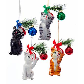 Noble Gems Kitty Cats in Santa Hats Playing Christmas Holiday Ornaments Set of 4