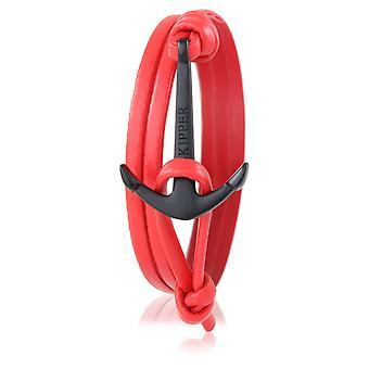 Skipper ankare armband läder i rött med svart ankare 6996