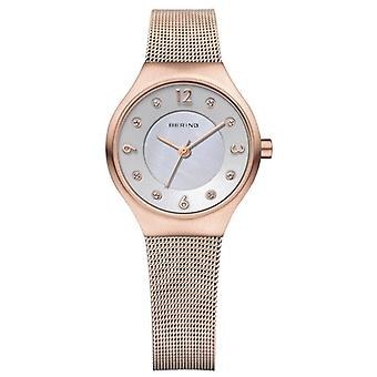 Bering Damenuhr Classic Rose Gold Rotgold Mailänder Strap 14427-366 27mm