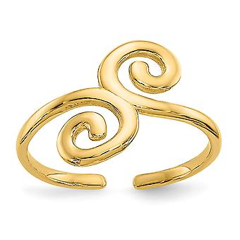 14k Yellow Gold Solid Polished Swirl Toe Ring Jewelry Gifts for Women - .8 Grams