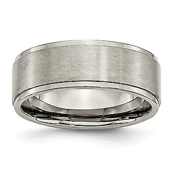 Titanium Engravable Ridged Edge 8mm Brushed Polished Band Ring Jewelry Gifts for Women - Ring Size: 6 to 15