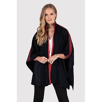 Noha contraste bordado chaqueta de capa de línea larga en azul y rojo
