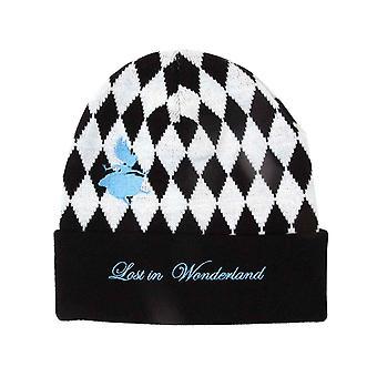 Alice In Wonderland Beanie Hat Checkered Lost Logo new Official Disney  Black