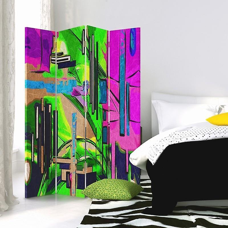 Diviseur de chambre, 4 panneaux, toile, résumé de paysage