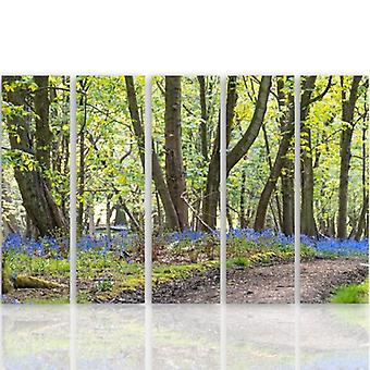 Cinco partes de imagen en lienzo, Pentaptych, tipo C, primavera en el parque