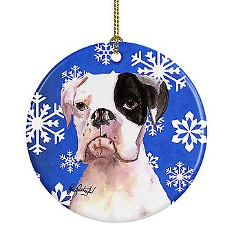 Carolines Treasures  RDR3003CO1 Cooper Winter Snowflakes Boxer Ceramic Ornament