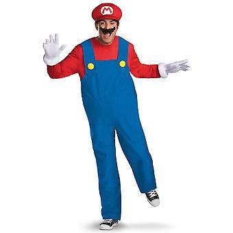 Mario Deluxe Nintendo Super Mario Bros Jeu vidéo Plombier Hommes Costume L/XL