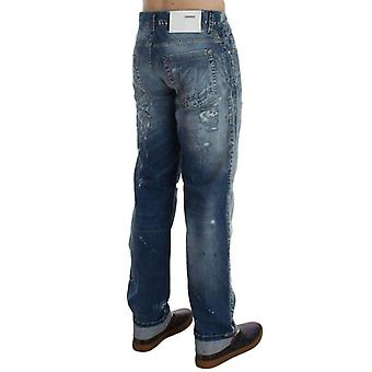 Blue Wash Torn Denim Cotton Regular Fit Jeans -- SIG3614213