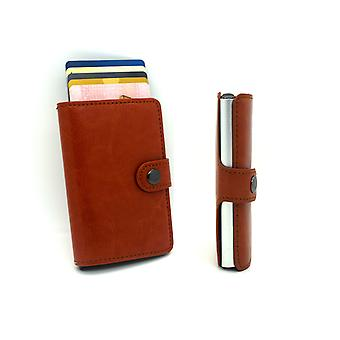 Theft protection RFID wallet automatic card holders brown