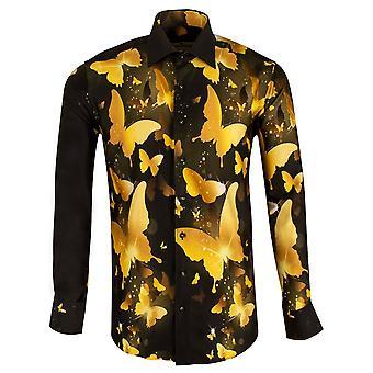 كلاوديو Lugli باطني الذهبي فراشة طباعة قميص الرجال