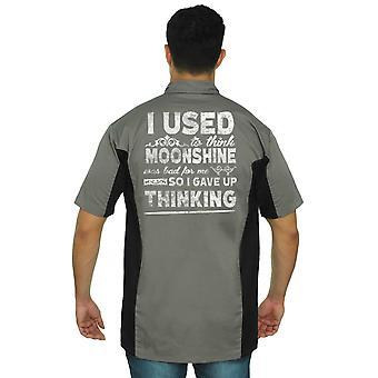 Men's Mechanic Work Shirt Moonshine was Bad 4 Me I Gave Up Thinking