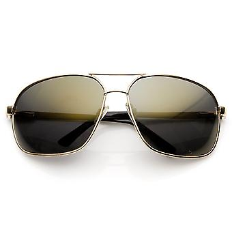 Premium kwaliteit metaal Oversized gespiegelde Lens Aviator zonnebril
