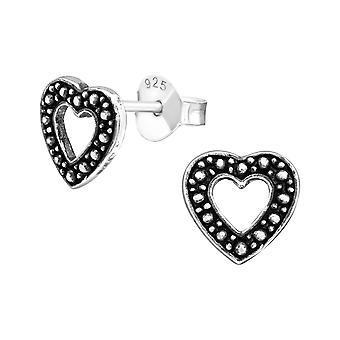 Heart - 925 Sterling Silver Plain Ear Studs - W23202x